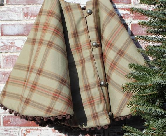 Christmas Tree Skirt Rustic Green Wool Plaid