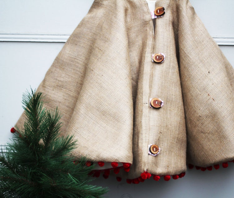 Etsy Christmas Tree Skirt: Christmas Tree Skirt Rustic Burlap With Wood By