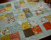Reserved for Rhonda.  Beautiful Arcadia Quilt for Baby in Burnt Orange and Seafoam Green/blue Baby Quilt Throw