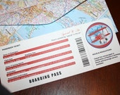Airplane themed boarding pass invitation - editable Publisher file