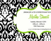 Black and White Damask with Apple Green invitation printable file