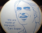 Embroidered Portrait Carl Sagan with Starstuff quote