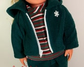 18 inch Doll Clothes American Girl  Forest Green Fleece Hoodie with Pants and Striped Shirt  Toys