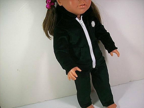 American Girl Doll Clothes  Black Velour Hoodie & Pants
