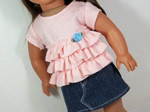18 inch Doll Clothes American Girl Doll Clothing  -  Peach  Ruffled  Shirt & Denim Mini Skirt Back to School