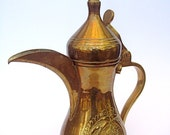 Vintage Brass Plated Teapot from Saudi Arabia