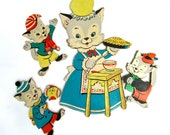 Cat Kittens Wall Plaques Set of 4 1959