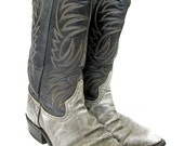 Vintage Cowboy Boots Gray Leather