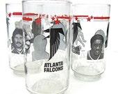 Atlanta Falcons Football Glasses Tumblers Dr. Pepper 1980s Set of Four