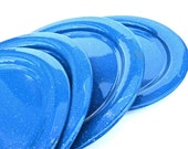 Blue Speckled Enamelware Plates Set of 4