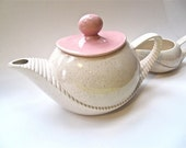 Pink and White Speckled Teapot Cream Pitcher Sugar Bowl Set