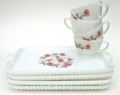 Fire King Fleurette Milk Glass Snack Plates Cups 8 Piece