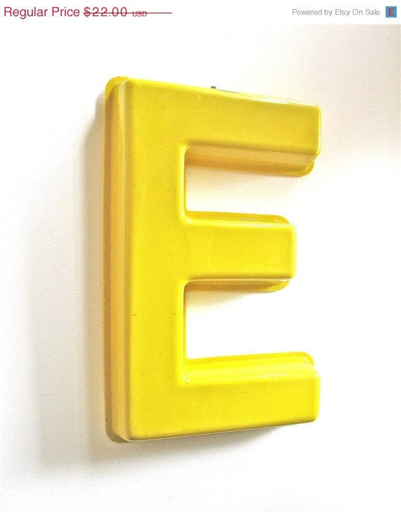 ON SALE Plastic Yellow E Letter Display