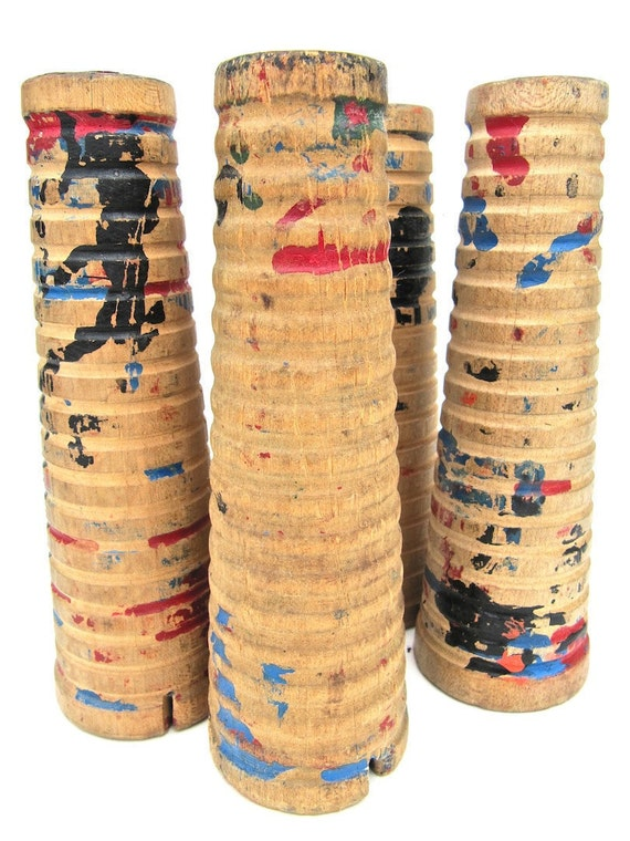 Four Wooden Spools Instant Collection