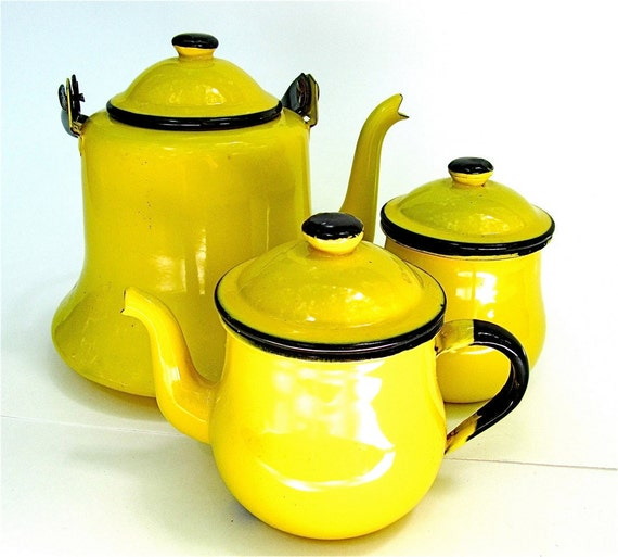 Yellow Enamel Coffee Tea Pot with Cream Pitcher and Sugar Bowl