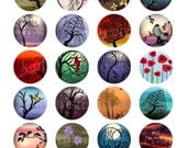 Instant Download - Digital Collage Sheet of my original paintings - 1-1/2 inch circles for jewelry bottle caps magnets 51B
