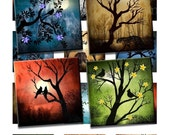Buy 2 GET 1 FREE - Instant Download - Grunge Nature Birds Animals Trees - Printable Original Art 2 inch squares Collage Sheet 116