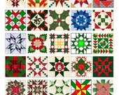 Buy 2 GET 1 FREE - Instant Download - Christmas Quilt Blocks Collage Sheet - 1-1/2 inch squares for pendants, stickers, tiles, magnets. 148