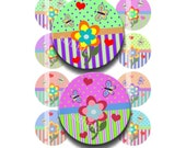 Buy 2 GET 1 FREE - Instant Download - Flower Garden Whimsy 4x6 Collage Sheet 1 inch circles for bottle cap pendants hair bow magnets DSP125
