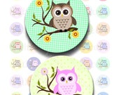 Buy 2 GET 1 FREE - Instant Download - Retro Owls on Branch Printable Collage Sheet - 1 inch circle for bottlecap pendant magnet hair bow 238