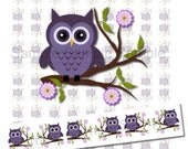 Instant Download - PYO Ribbon Super Cute Purple Owls on a Branch - Print Your Own 7/8 inch Ribbon Graphics 270