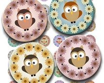 Instant Download - Spring Owls Collage Sheet - 1 inch circles for pendants, stickers, tiles, magnets, hair bows. 201