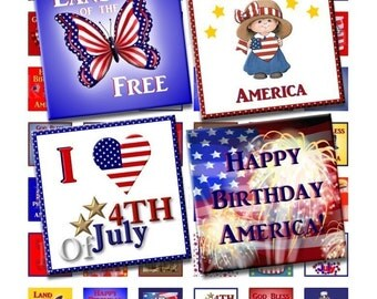 Instant Download - Patriotic 4th of July Collage Sheet - 1 inch squares for pendants, glass tiles, scrapbooking, etc. 91