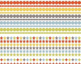 Instant Download - 24 Circles and Stars Clipart Borders in Bright Mod Colors for Scrapbooking, Card Making 42