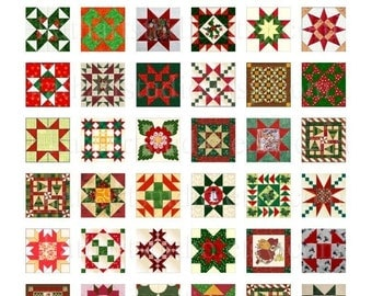 Instant Download - Christmas Quilt Blocks Collage Sheet - 1 inch squares for pendants, stickers, tiles, magnets 93
