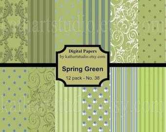 Instant Download - Spring Green Digital Paper pack for Scrapbooking, Card Making, Printable 38