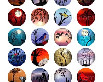 Buy 2 GET 2 FREE - Instant Download - Digital Collage Sheet of my original paintings - 1-1/2 inch circles for pendants, magnets 51A