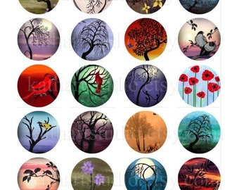 Buy 2 GET 1 FREE Instant Download - Digital Collage Sheet of my original paintings - 1-1/2 inch circles for jewelry bottle caps magnets 51B