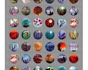 Instant Download - Digital Collage Sheet of my original paintings - 1 inch circles for jewelry, bottle caps, magnets 51