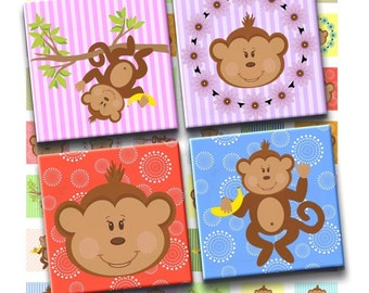 Instant Download - Monkey Time Digital Collage Sheet - 1inch squares for pendants stickers tiles magnets scrapbooking217