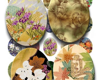 Instant Download - Asian Beauty Floral Printable Collage Sheet - 30mm X 40mm Ovals for pendants glass tiles scrapbook 218