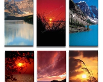 Instant Download - Peaceful Landscapes Sunsets Digital Collage Sheet - 1x2 inch rectangles for pendants, magnets 138