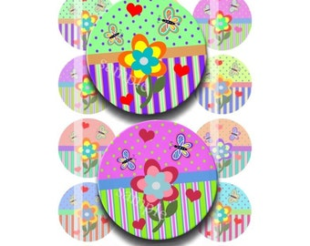 Instant Download - Flower Garden Whimsy 4x6 Collage Sheet 1 inch circles for bottle cap pendants hair bow magnets DSP125