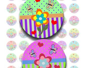 Instant Download - Whimsical Flowers Collage Sheet - 1 inch circles for bottlecap pendants, stickers, tiles, magnets 234