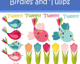 Instant Download - Birdies Tulips Tweet Clip Art Set for personal and commercial use DS58