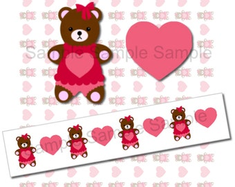 BUY 2 GET 1 FREE - Instant Download - Ribbon Graphics Images - Print Your Own 7/8 inch Cute Girl Bear with a Heart Ribbon 267