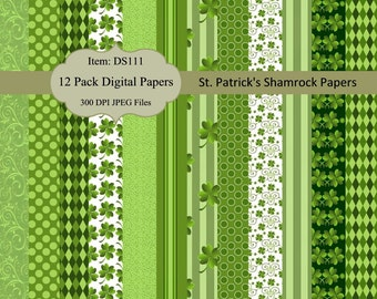 Buy 2 GET 1 FREE - Instant Download - St. Patrick's Day Shamrock Digital Papers - Commercial Use DS111