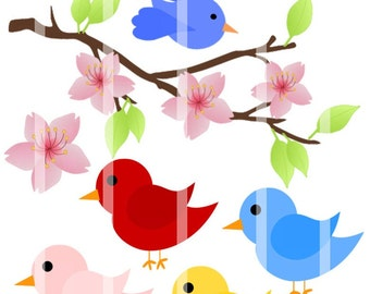 Instant Download - Birdie on a Branch - Bird Clip Art - Personal and Commercial Use 75