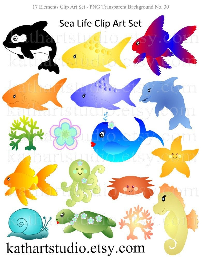 Cute sea life octopus whales fish clipart for scrapbooking for Cute names for fish
