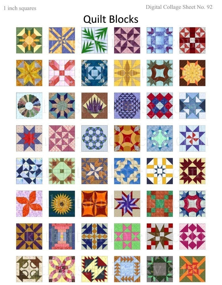 Instant Download Quilt Blocks Collage Sheet 1 Inch