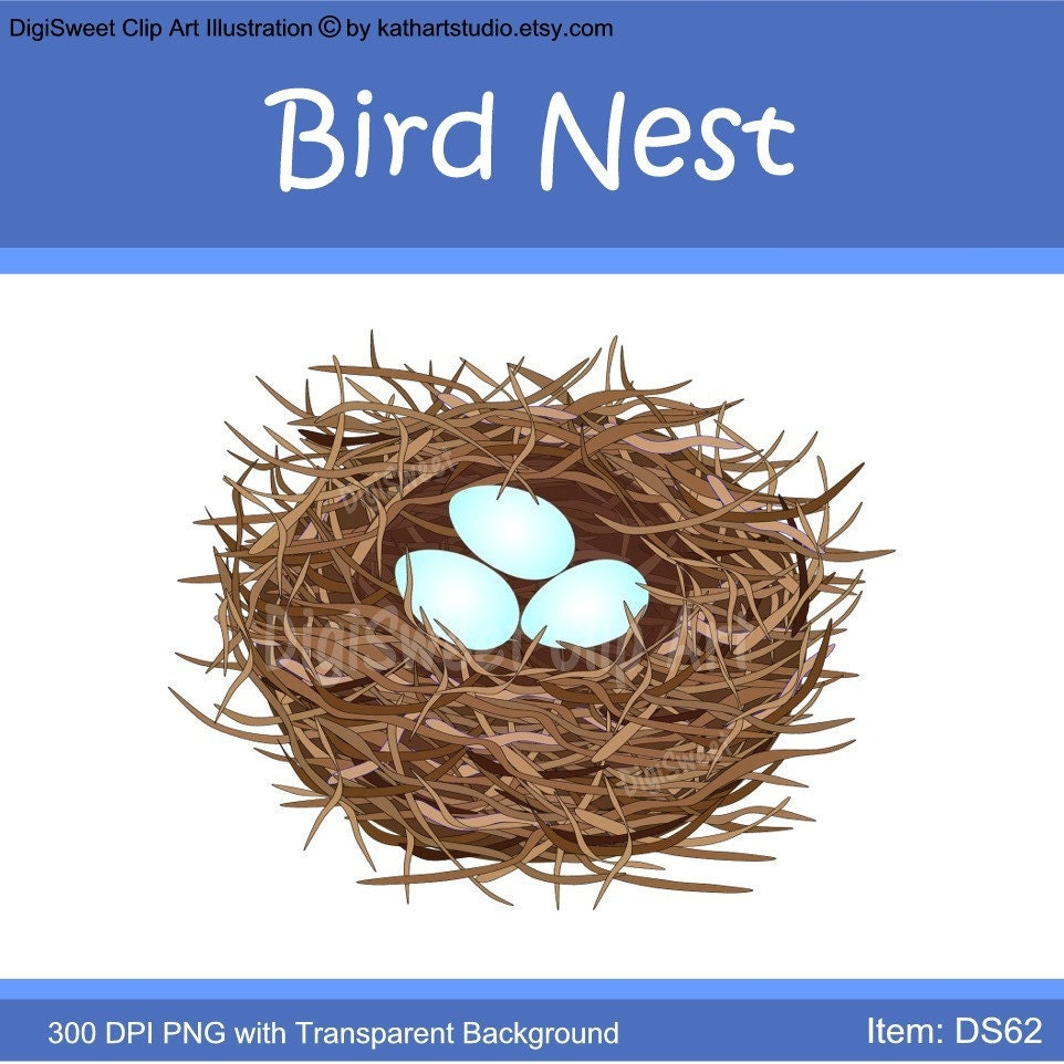 Instant Download Very Detailed Bird Nest With Eggs Clip Art