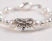 Keepsake for baby Bracelet White Silver Dragonfly