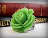 Green Rose Ring Gifts Under 10 Big Flower Ring St. Patrick's Day Jewelry Cocktail Ring Dinner Ring Green Accessories Pretty Ring for Her