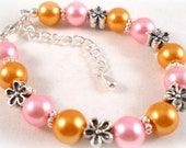 Childrens Bracelets Pink and Orange with Daisies Spring Jewelry