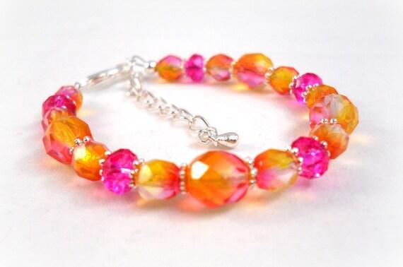 Kids Jewelry Little Girl Bracelet Hot Pink Orange Yellow baby girl child