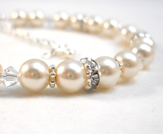Flower Girl Bracelet Ivory Pearls Swarovski Crystals Childrens Wedding Jewelry